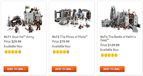 LEGO Lord of the Rings Sets Available Now