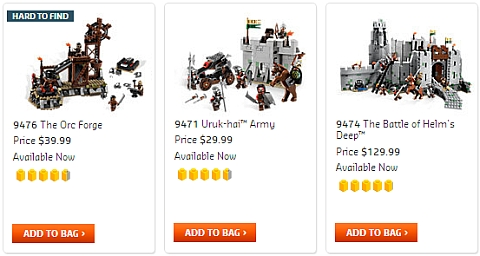LEGO Lord of the Rings Sets at the Online LEGO Shop