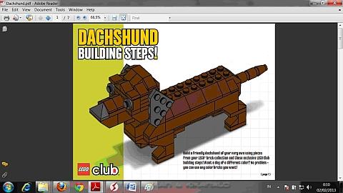LEGO Instructions for LEGO Club Dog Model