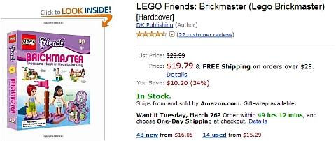 LEGO Friends BrickMaster Book on Amazon