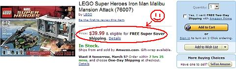 LEGO Ironman on Amazon with Free Shipping