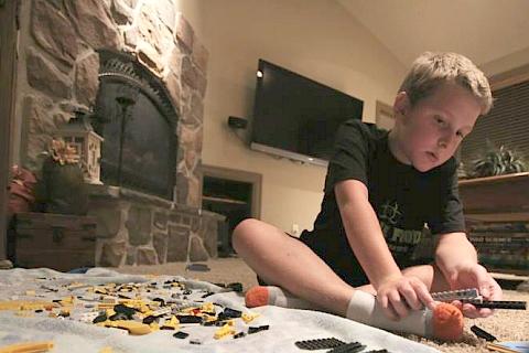 Mitchell Jones Working on a New LEGO Set