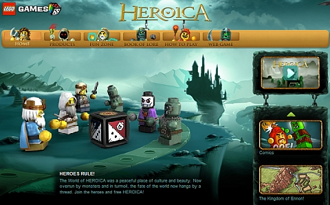 LEGO Comics on Heroica Website