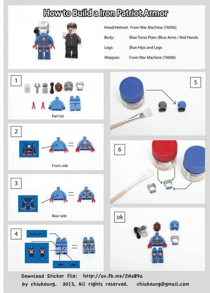 LEGO Iron Man Iron Patriot Instructions by Chiukeung