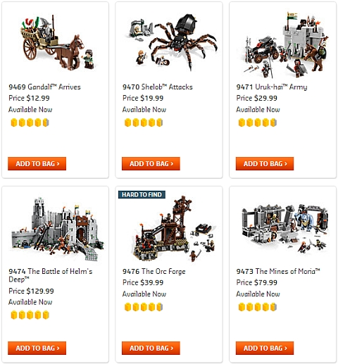 Shop for LEGO Lord of the Rings Sets