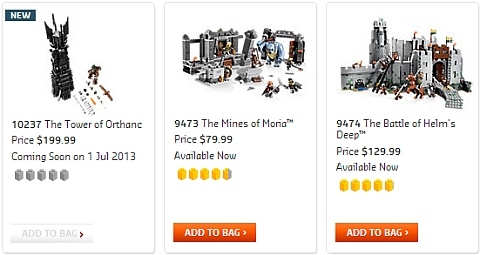 2013 LEGO Lord of the Rings Summer Sets