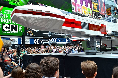 LEGO Star Wars X-wing at New York Time Square Front