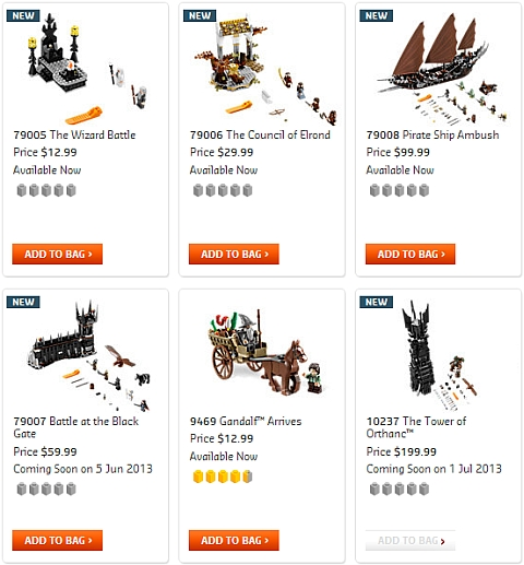Buy LEGO Lord of the Rings Summer Sets