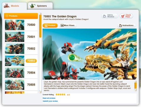 LEGO Ninjago Website Products Page