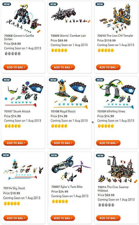 Shop for 2013 LEGO Summer Chima Sets