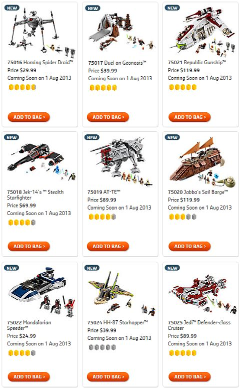 Shop for 2013 LEGO Summer Star Wars Sets