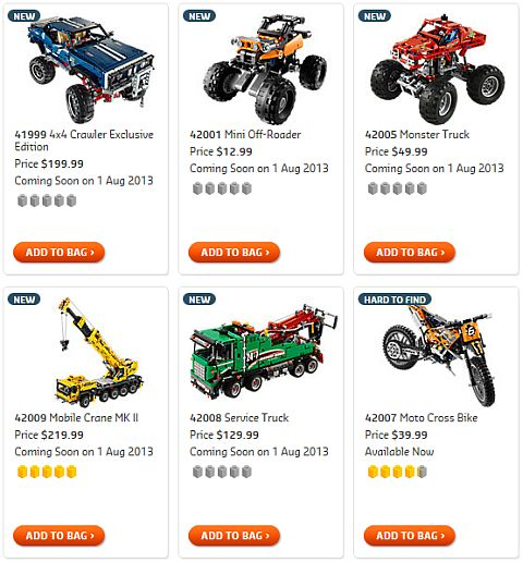 Shop for 2013 LEGO Summer Technic Sets