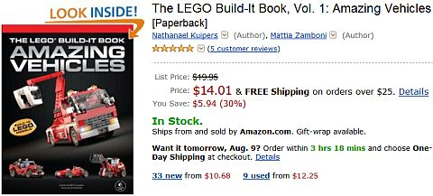 LEGO Book Amazing Vehicles on Amazon