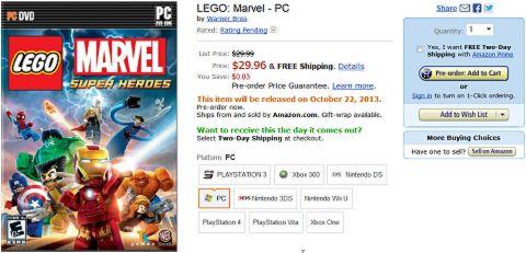 LEGO Marvel Super Heroes Game on Amazon