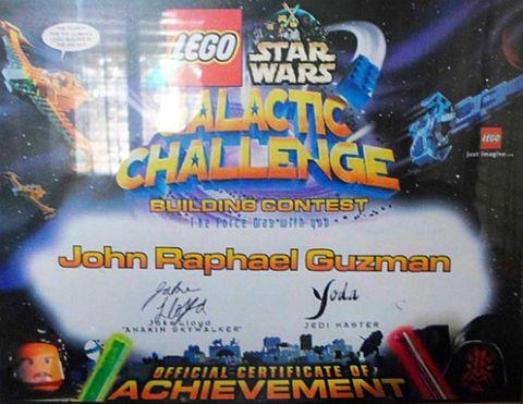 Featured LEGO Fan John Raphael Guzman LEGO Competition Certificate