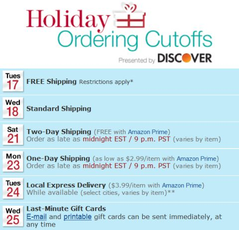 LEGO Holiday Shipping Schedule on Amazon