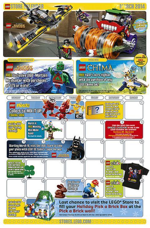 March LEGO Store Calendar