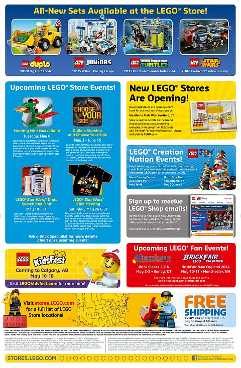 LEGO May Store Calendar Details
