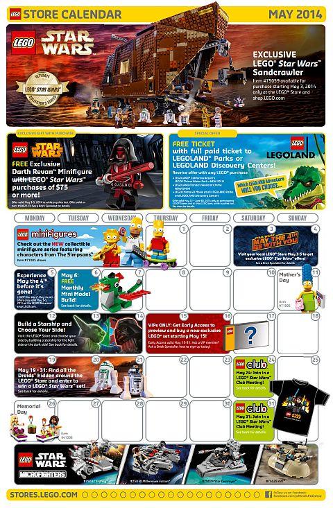 LEGO May Store Calendar