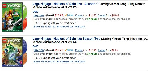 LEGO Ninjago DVD on Amazon