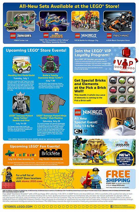 LEGO Shop Calendar July