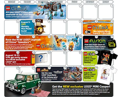 LEGO August Store Calendar