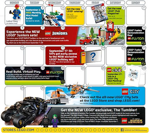 LEGO Shopping LEGO Store Calendar September