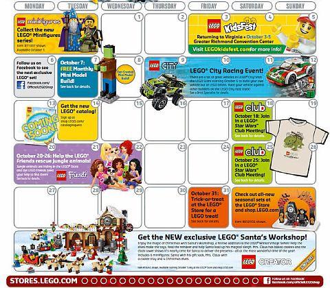 October LEGO Store Calendar