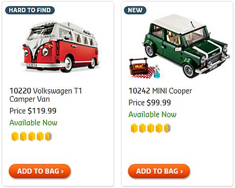 Shop LEGO Creator Mini Cooper & VW Camper