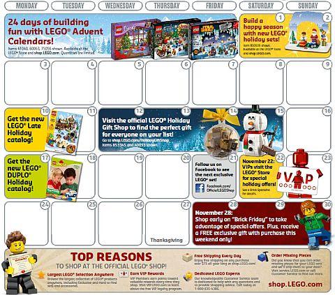 LEGO Store Calendar November