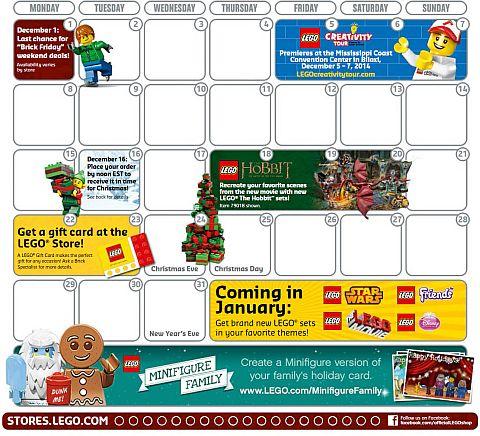 LEGO Store Calendar December Details