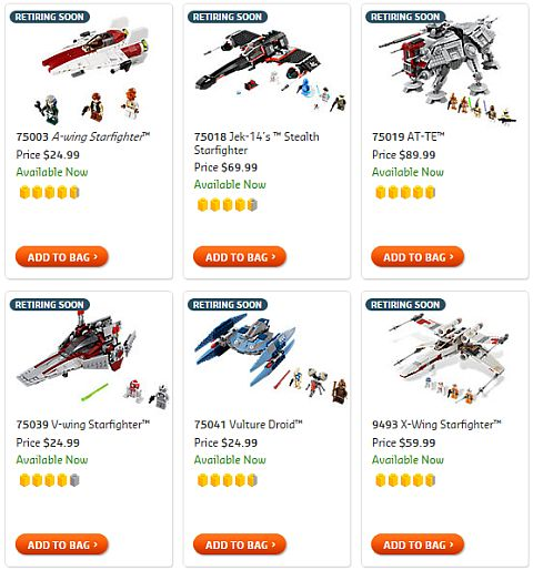 Shop LEGO Retiring Soon Star Wars