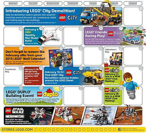 February 2015 LEGO Store Calendar Events
