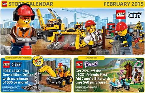February 2015 LEGO Store Calendar
