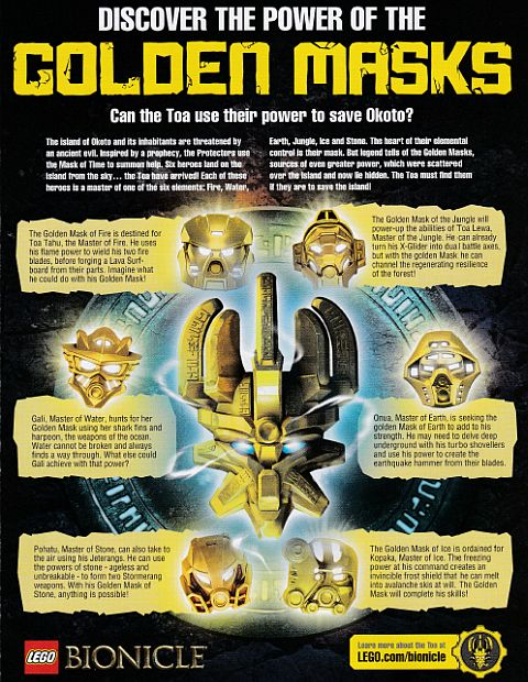 LEGO Club Magazine BIONICLE Golden Masks