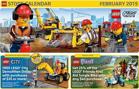 LEGO Store Calendar February 2015
