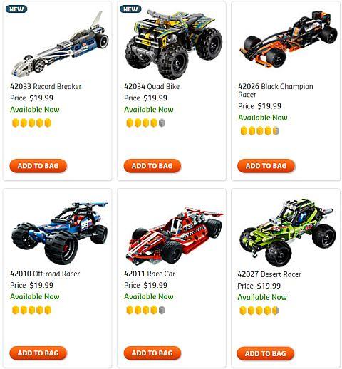 Shop LEGO Technic Pull Back Racers