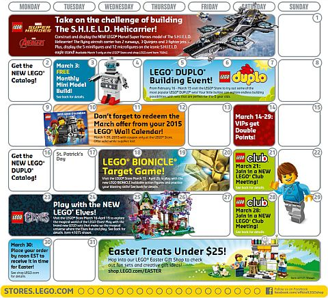LEGO March Calendar Events