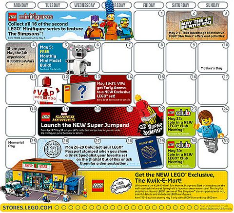 LEGO Store Calendar May 2015 Details