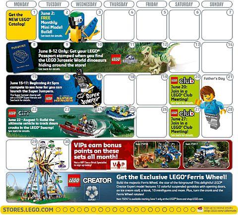 LEGO June Store Calendar