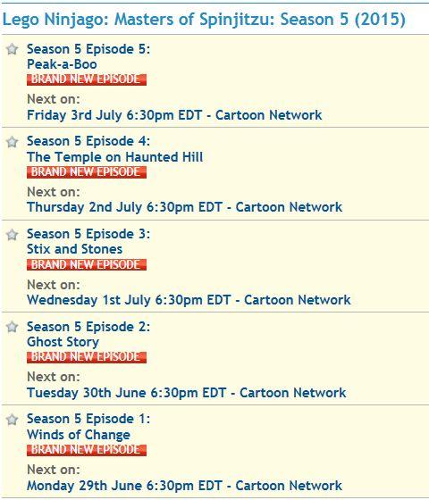 LEGO Ninjago Season 5 Schedule