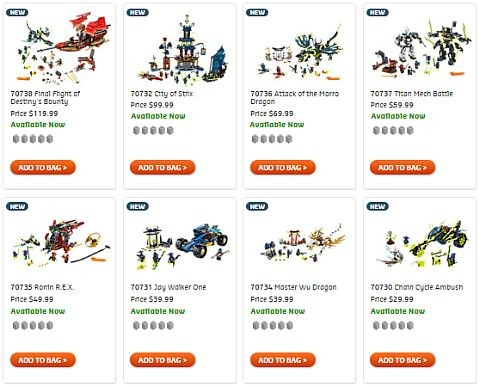 Shop LEGO NInjago 2015 Summer Sets