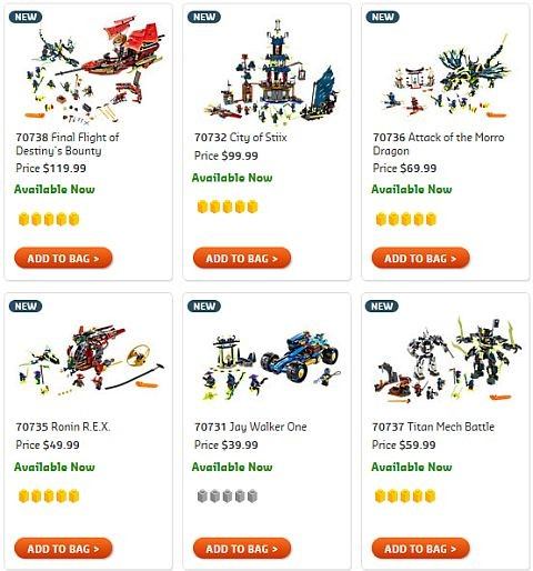 Shop LEGO Ninjago 2015 Summer Line