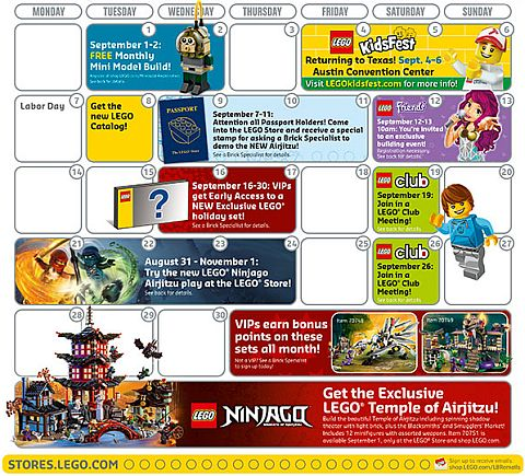 LEGO Store Calendar September 2015 Details