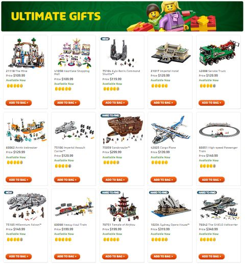 Shop LEGO Holiday Gift Shop Ultimate Gifts