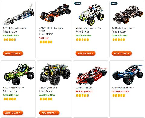Shop LEGO Technic Pull Back Racers