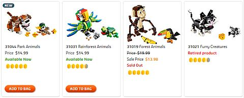 Shop LEGO Creator Animals