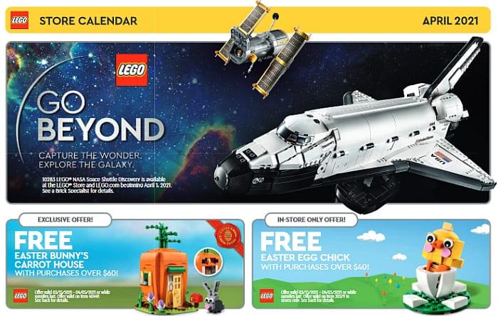 LEGO Store Calendar April 2021