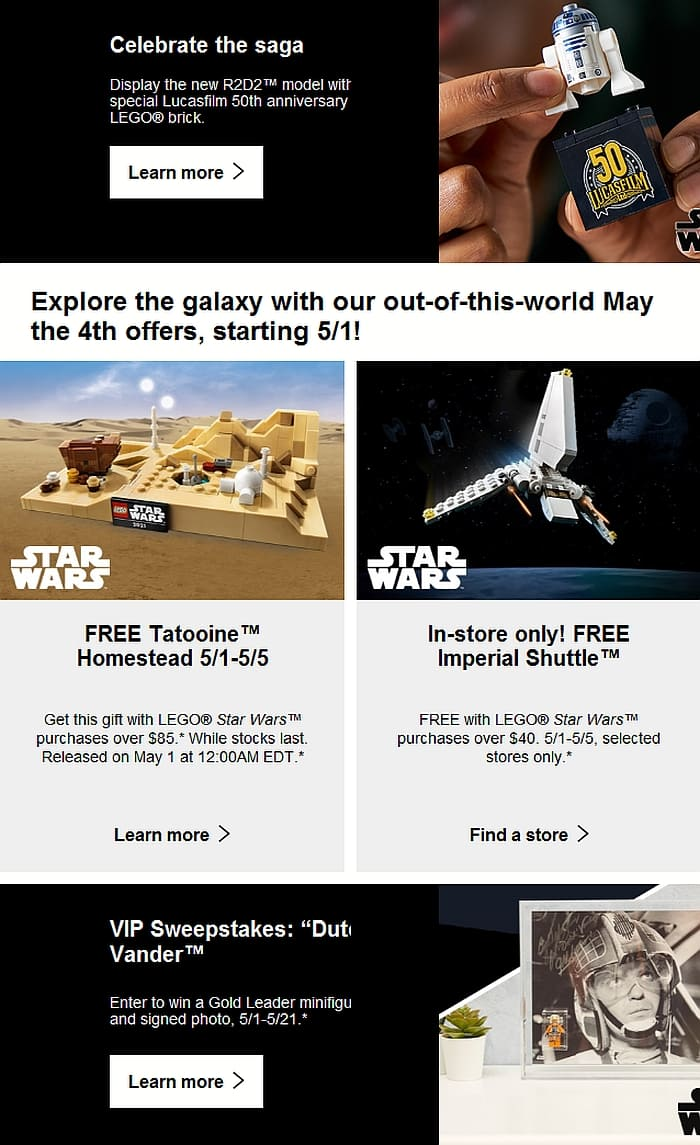 LEGO Store Calendar May 2021 Star Wars Day