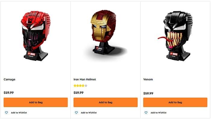 Shop LEGO Marvel Helmets